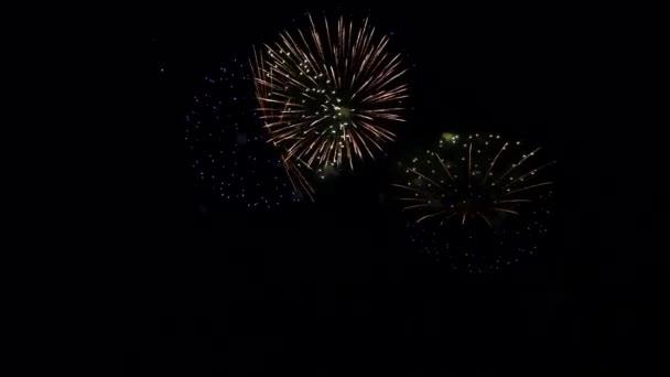 Feuerwerk explodiert im Dunkeln