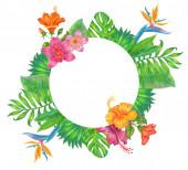 Nyári trópusi háttér banner pálma levelek és hibiszkusz virágok.