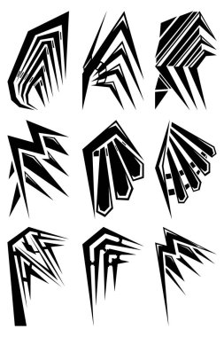 Set of nine abstract images of wings. Images for various purposes. Tattoo, logos and more. Vector image. icon