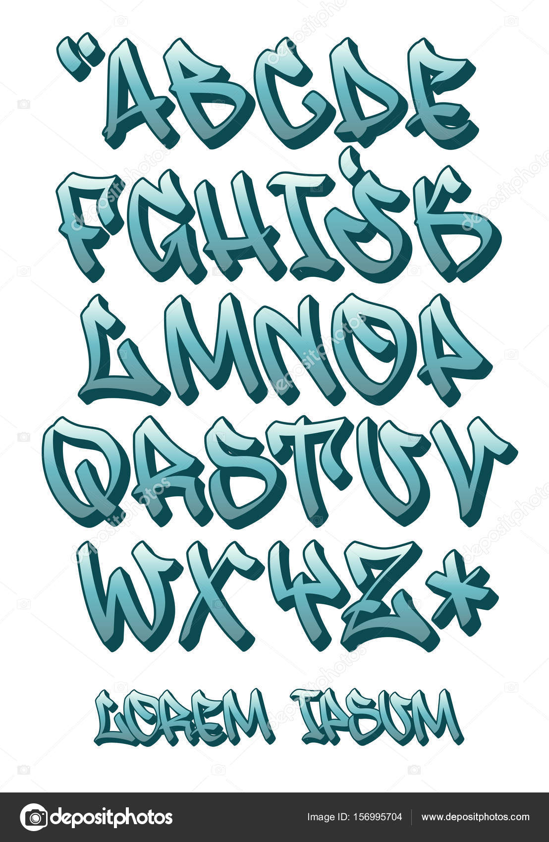 Vectorial Font In Graffiti Hand Written 3D Style Capital Letters Alphabet Vector By Photo Jope