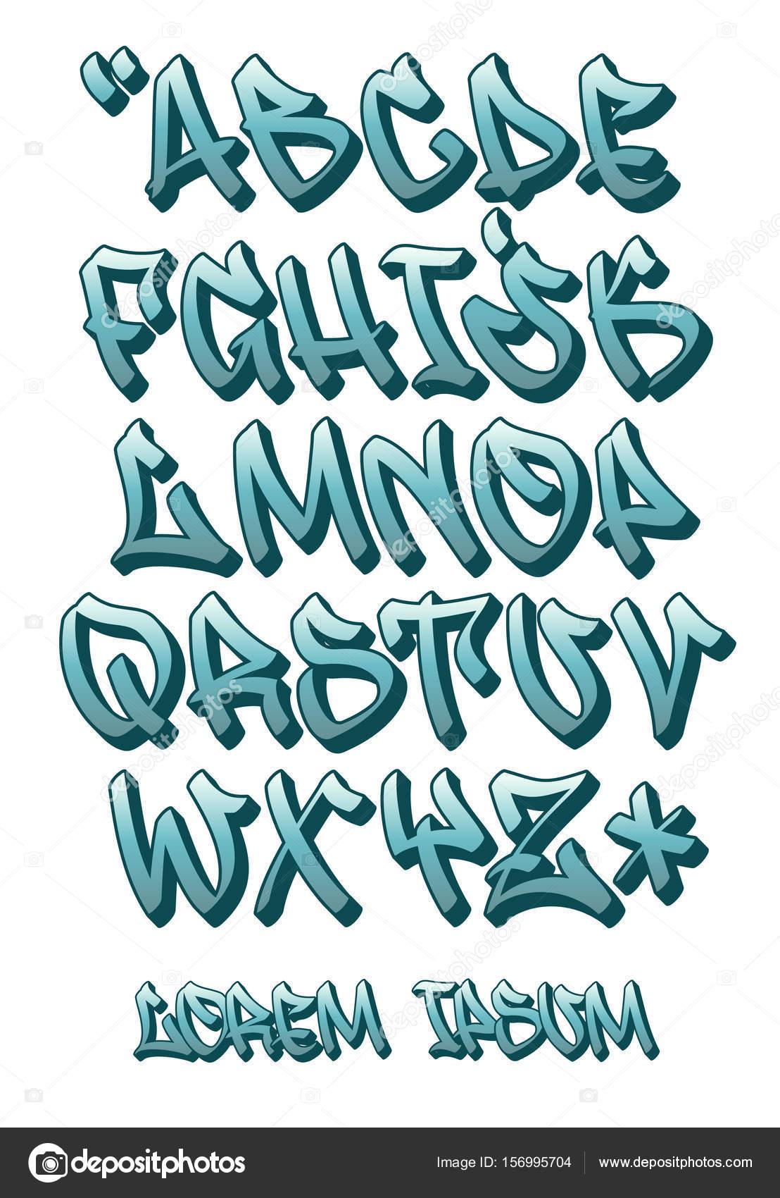 Graffiti Font 3d Escrito A Mano Alfabeto Vector Archivo Imagenes