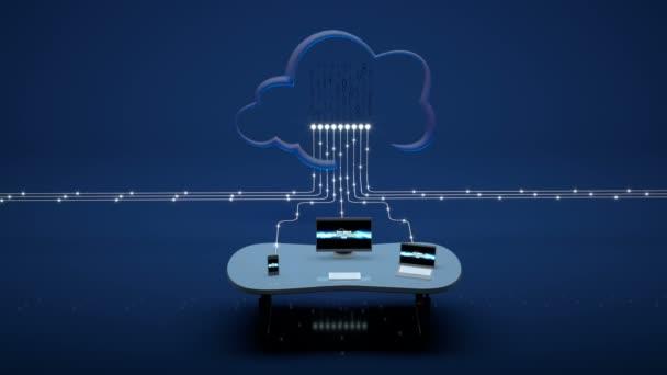 Stolní počítač, notebook a Smartphone odesílání dat do cloudu