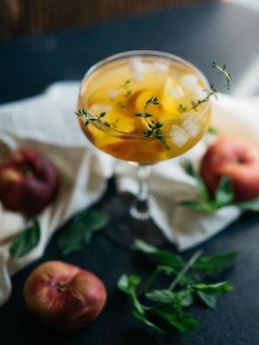 Lemonade drink with peach