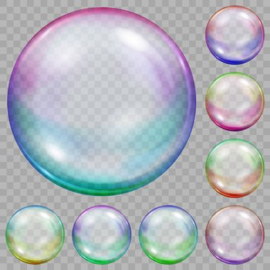 Set of multicolored transparent soap bubbles with glares on transparent background. Transparency only in vector file clip art vector