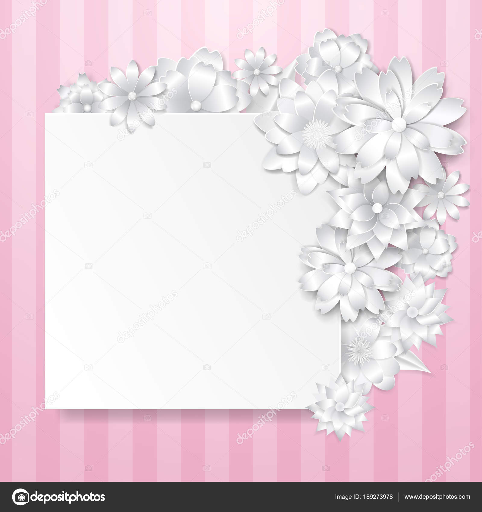 Greeting Card Template With Paper Flowers Stock Vector