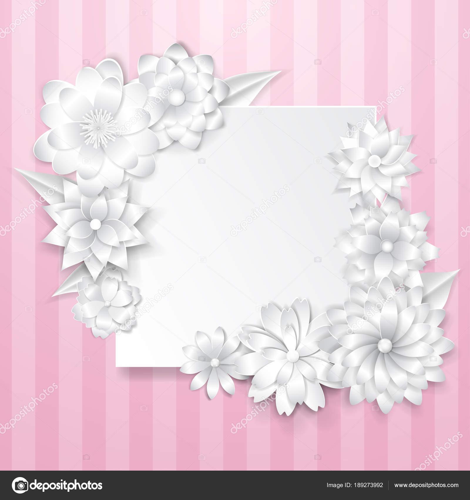 Plantilla de tarjeta de felicitación con flores de papel — Vector de ...