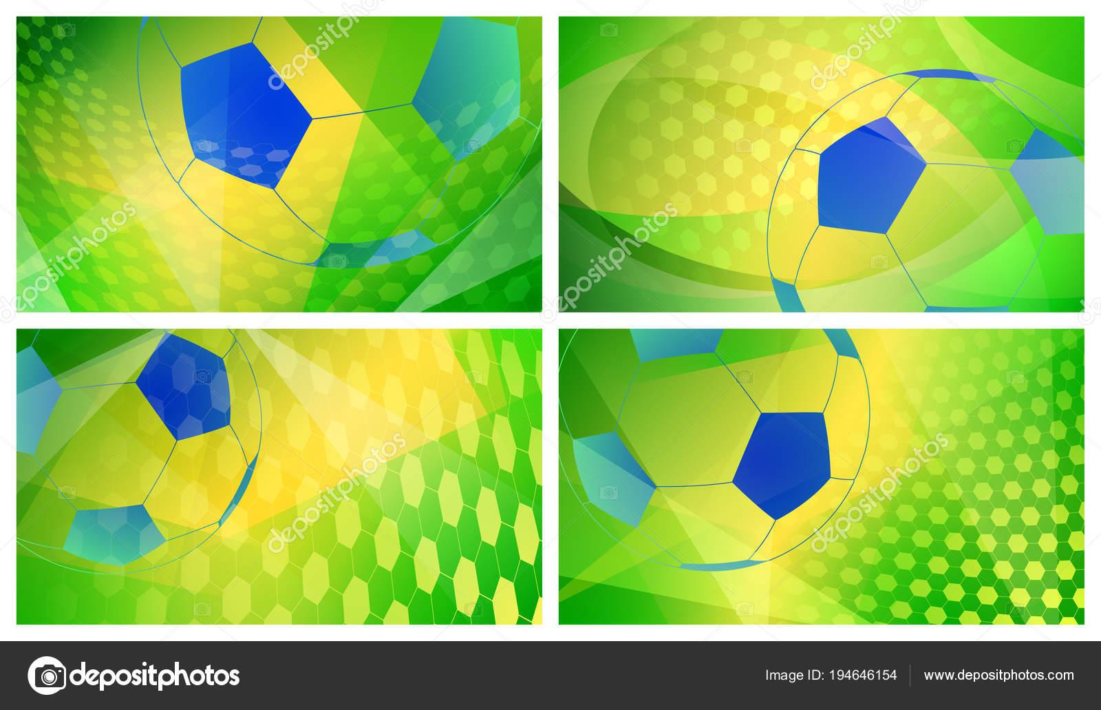 Conjunto de cuatro fondos abstractos fútbol o fútbol con pelota grande en colores  nacionales de Brasil — Vector de 31moonlight31 d86e8c3038612