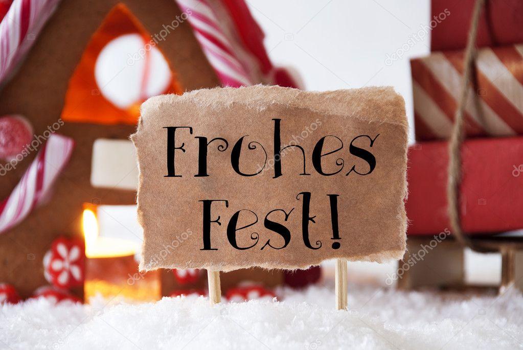 Lebkuchenhaus mit Schlitten, Frohes Fest bedeutet Frohe Weihnachten ...
