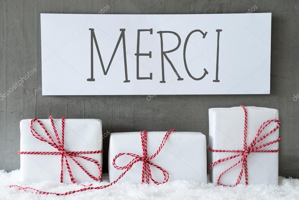 Weiße Geschenk auf Schnee, Danke Merci Mittel — Stockfoto © Nelosa ...