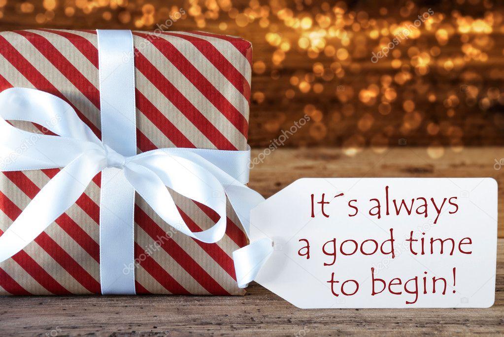 Presente de Natal atmosférico com rótulo, sempre bom tempo Begin —  Fotografia de Stock 2e09c354e5