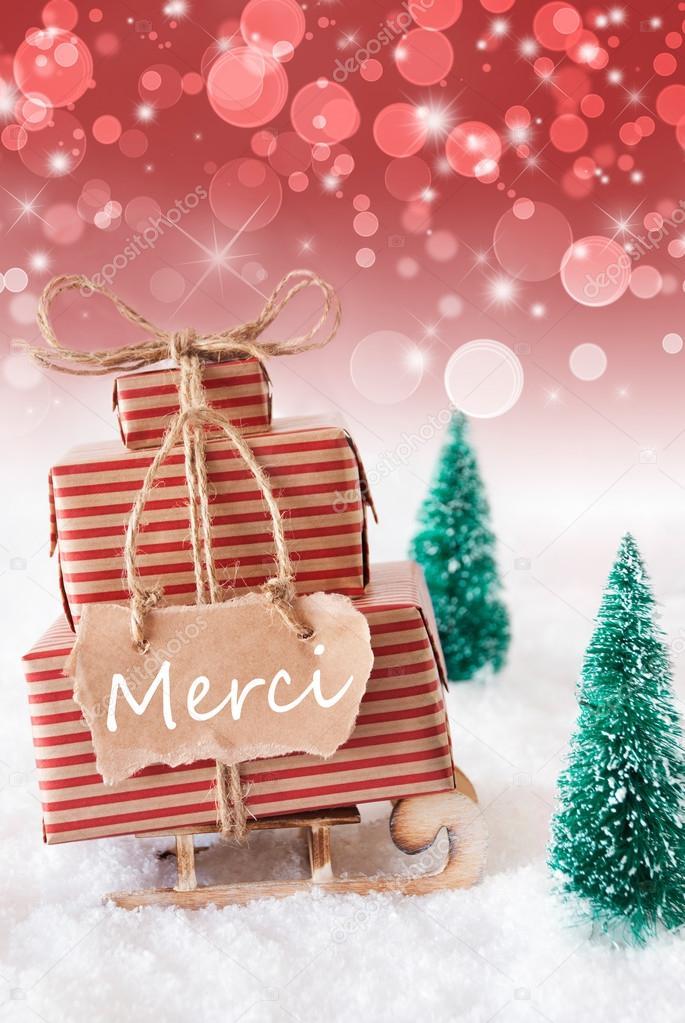 Vertikale Weihnachten Schlitten, rotem, Merci bedeutet vielen Dank ...