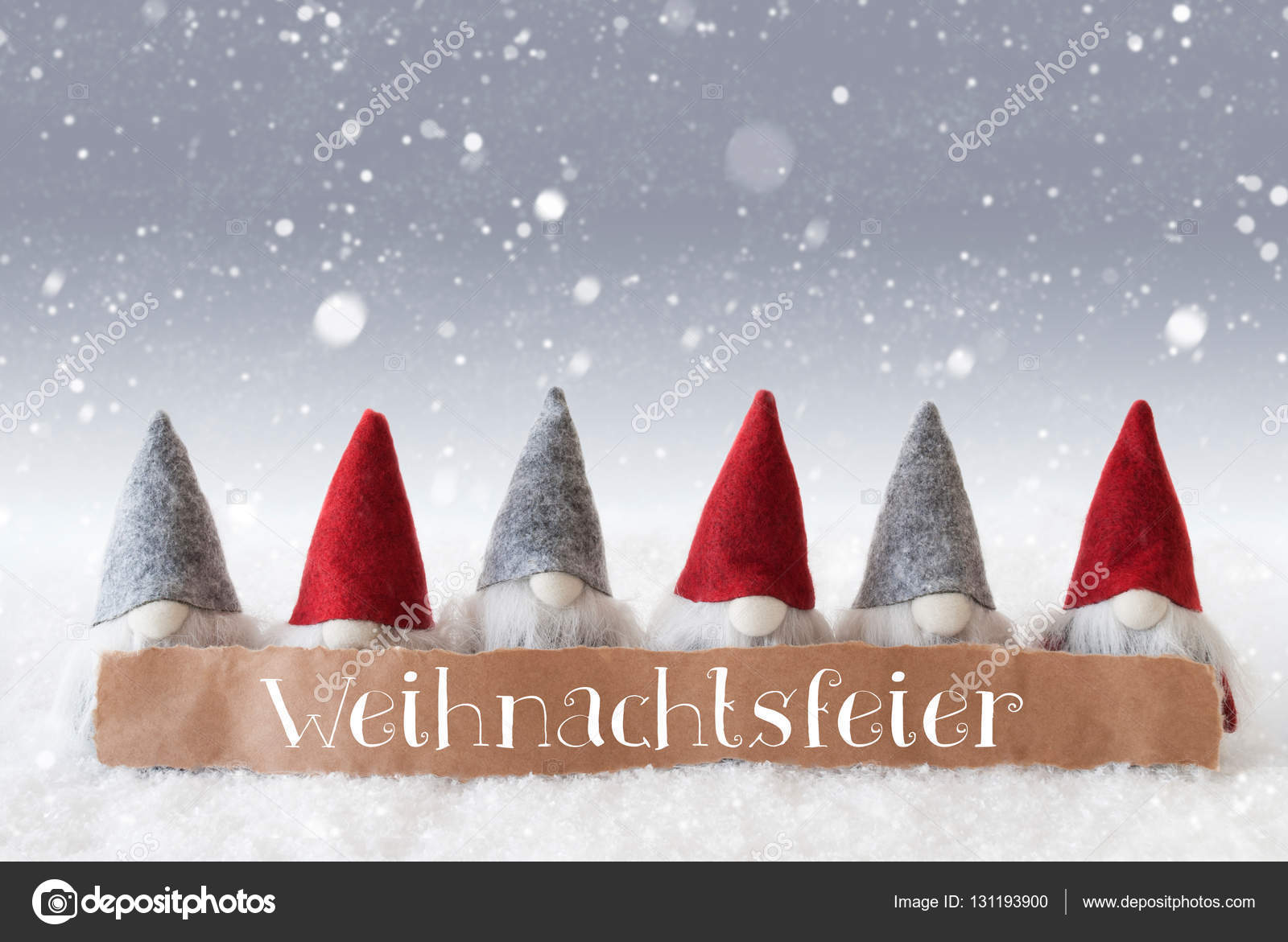 Save The Date Weihnachtsfeier.Gnomes Silver Background Snowflakes Weihnachtsfeier Means
