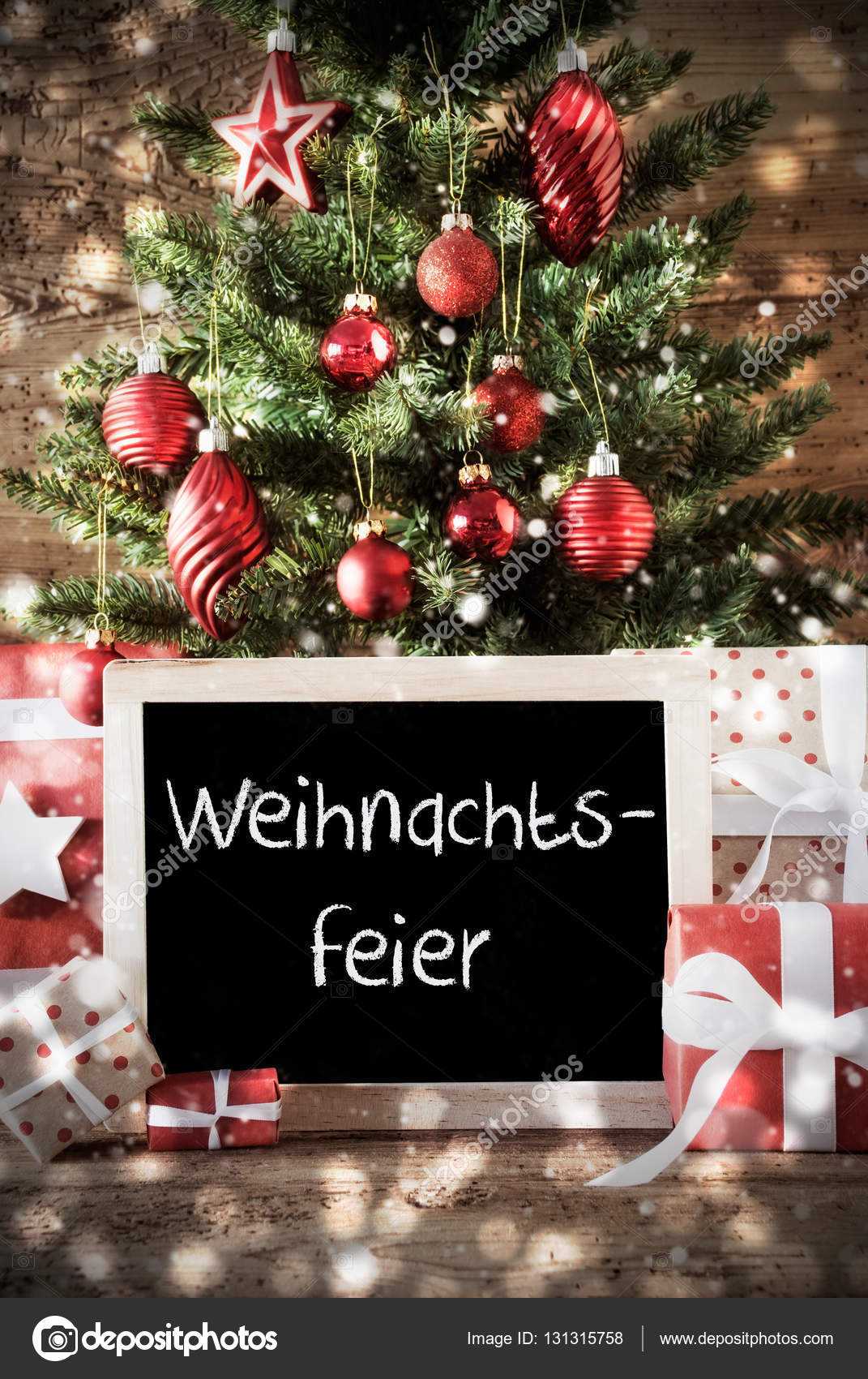 Chalkboard with german text weihnachtsfeier means christmas party christmas card for seasons greetings christmas tree with balls