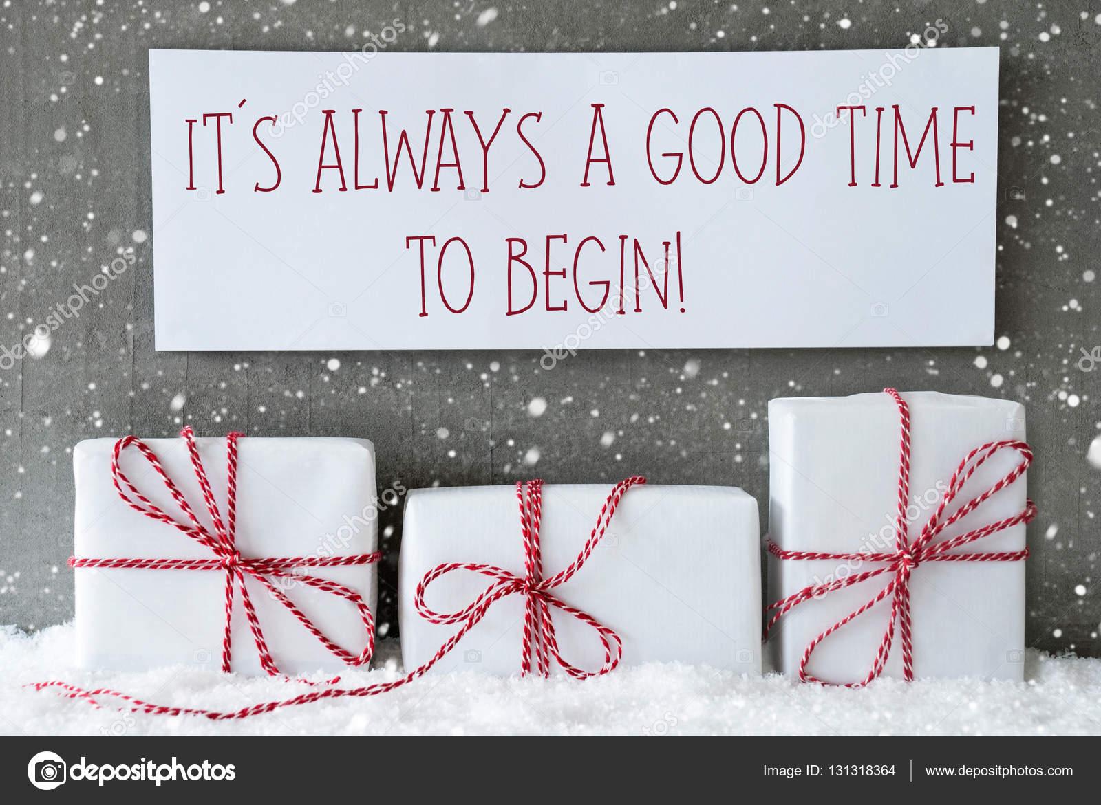 Branco de presente com flocos de neve, citar o tempo é sempre bom começar — 643bfbdcb6
