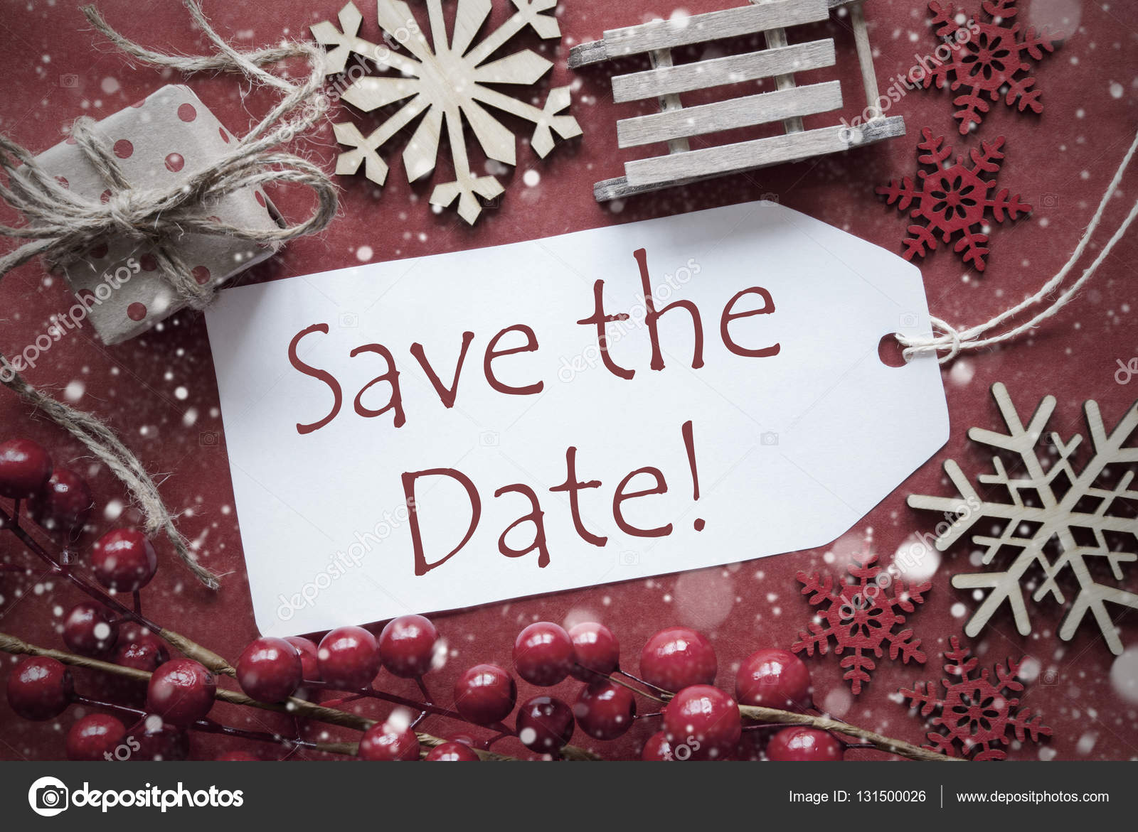 Christmas Save The Date Graphics.Nostalgic Christmas Decoration Label With English Text Save
