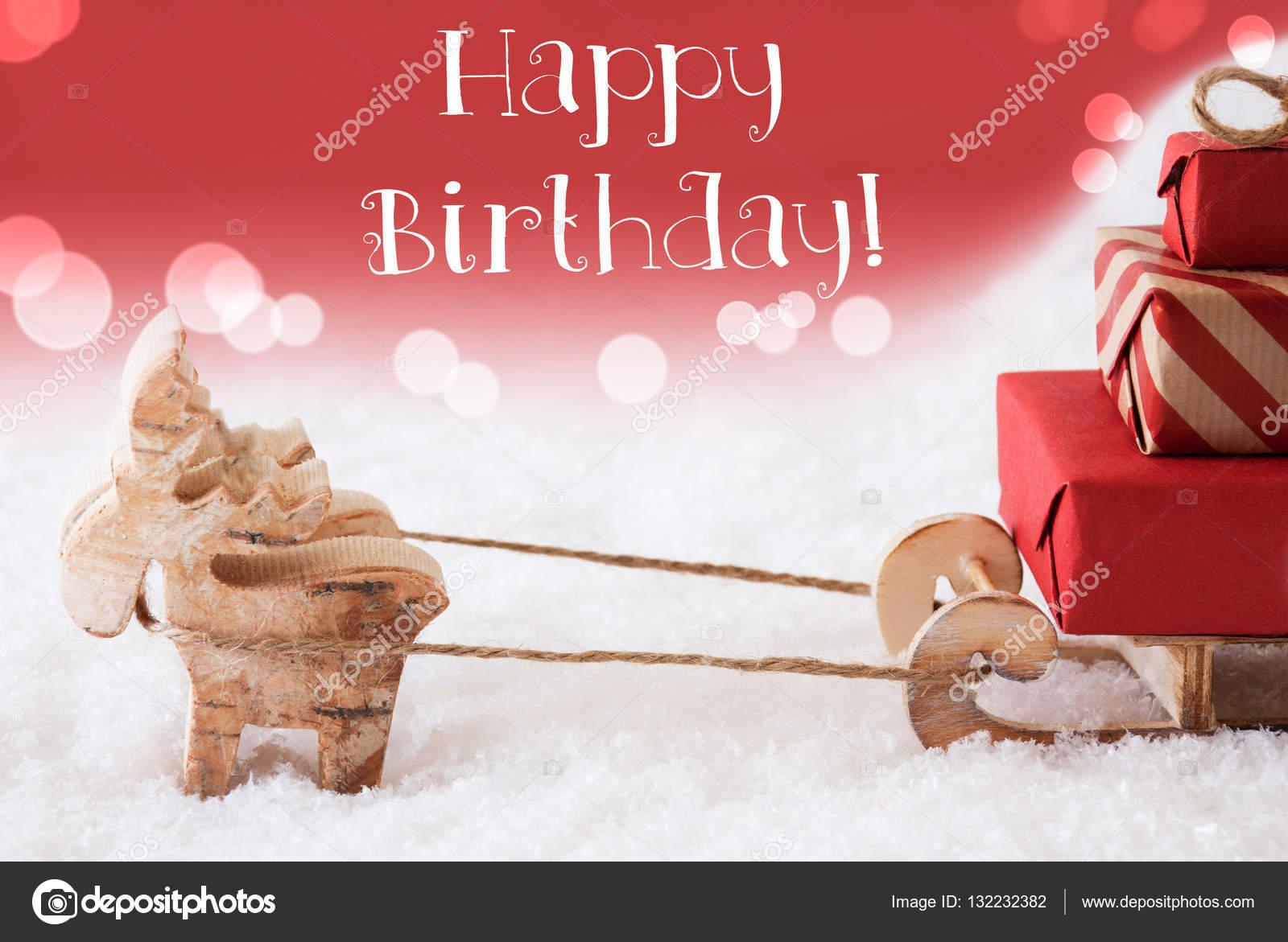 přání k narozeninám v anglickém jazyce Sob se saněmi, červené pozadí, Text k narozeninám — Stock  přání k narozeninám v anglickém jazyce