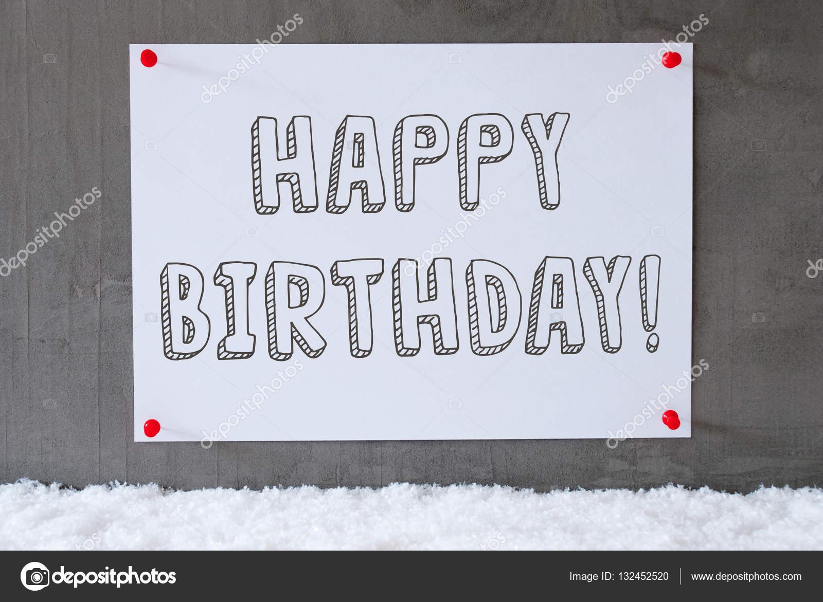 Etikett Auf Zement Wand Schnee Text Alles Gute Zum Geburtstag