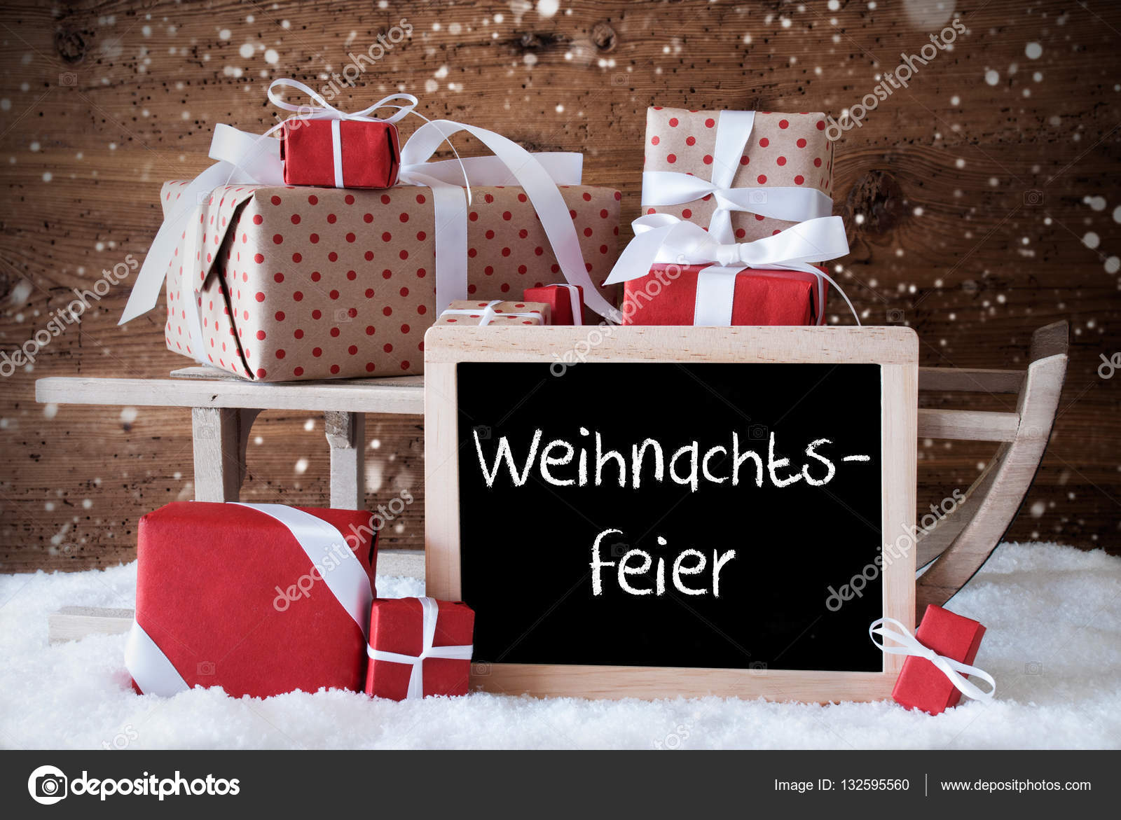 Schlitten mit Geschenken, Schnee, Schneeflocken, Weihnachtsfeier ...