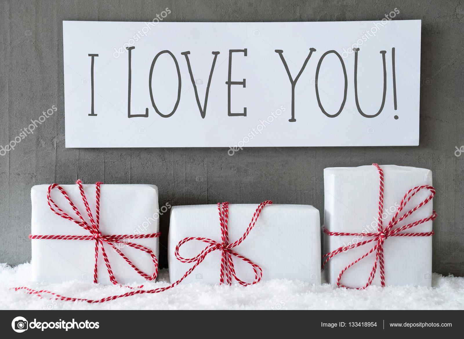 White Gift On Snow, Text I Love You — Stock Photo © Nelosa #133418954