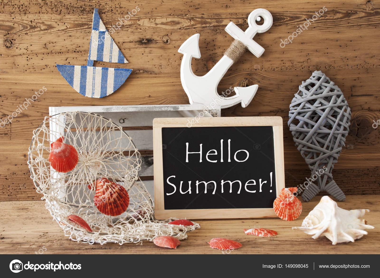 Tafel mit nautische Dekoration, Text Hallo Sommer — Stockfoto ...