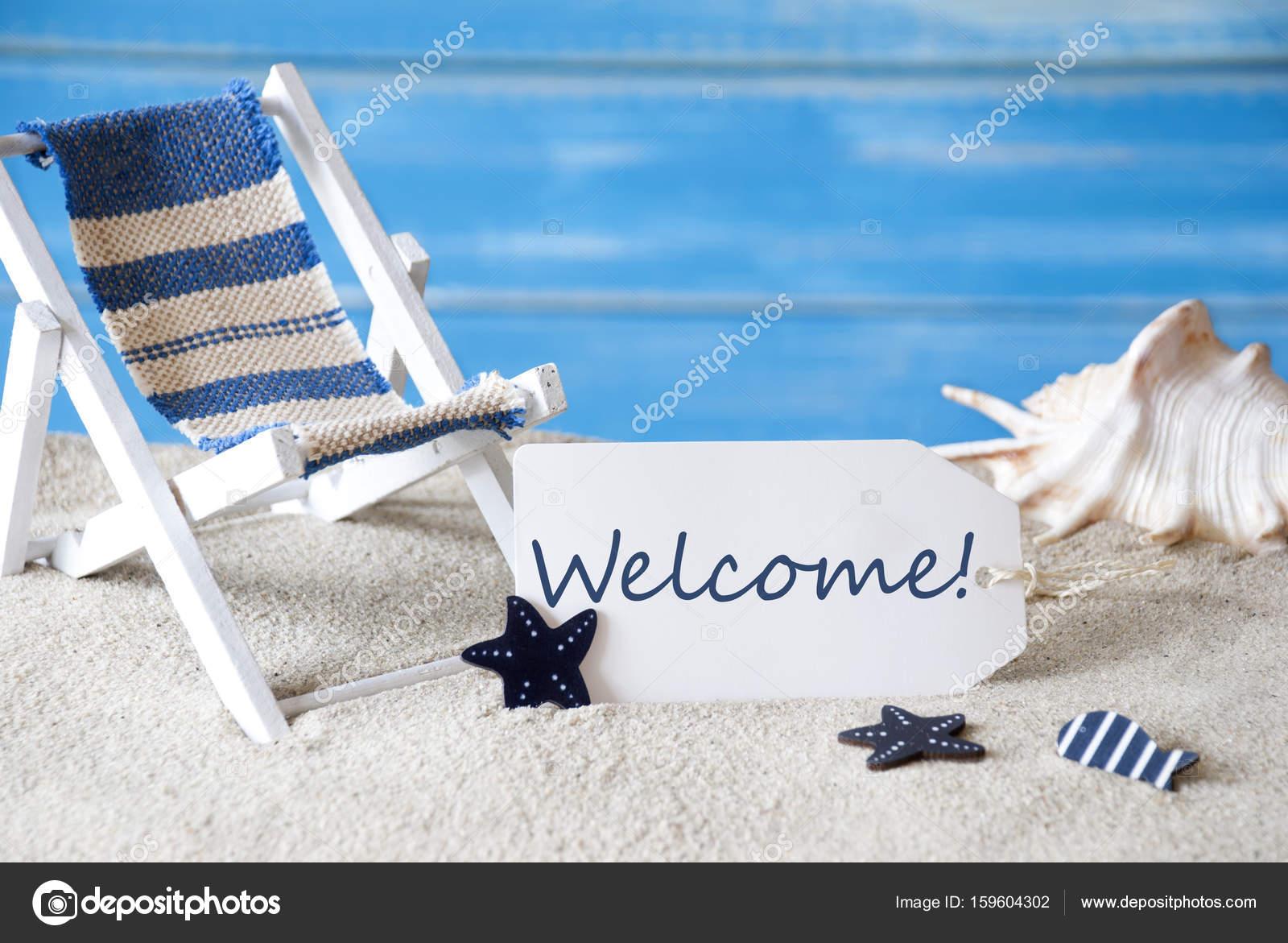 Sedia A Sdraio In Inglese.Contrassegno Di Estate Con Sedia A Sdraio E Benvenuto Testo
