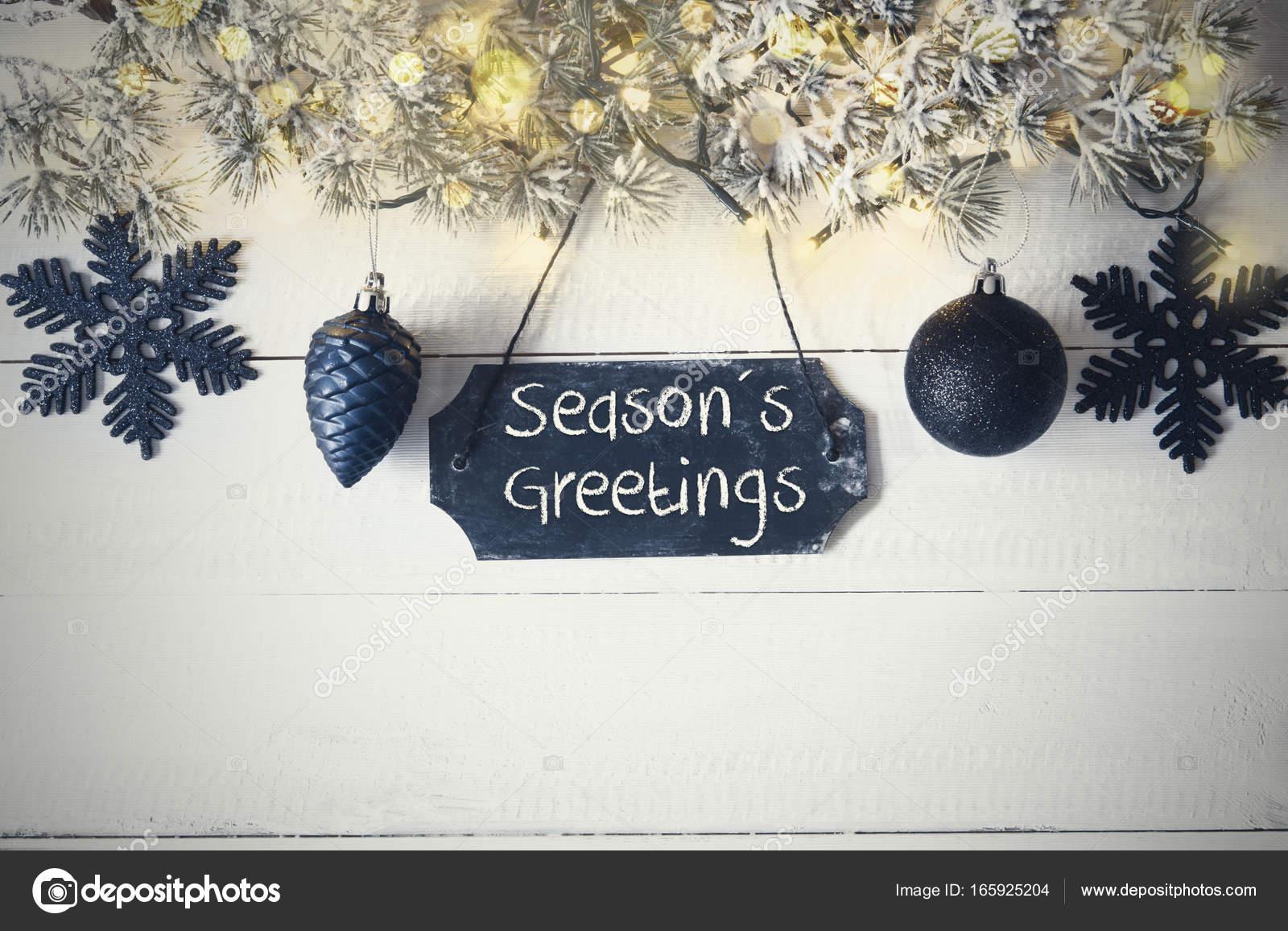 Black Christmas Plate Fairy Light Text Seasons Greetings Stock