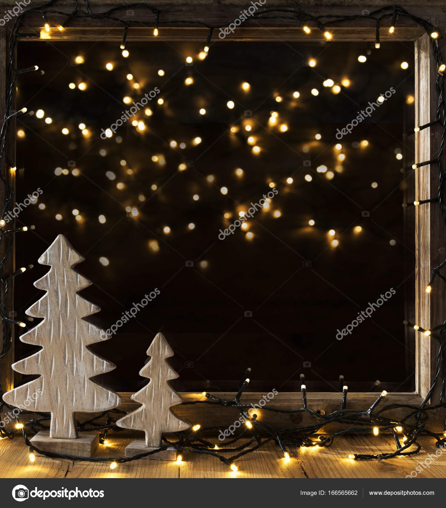 Fenetre Lumieres Dans La Nuit Guirlande Lumineuse Photographie