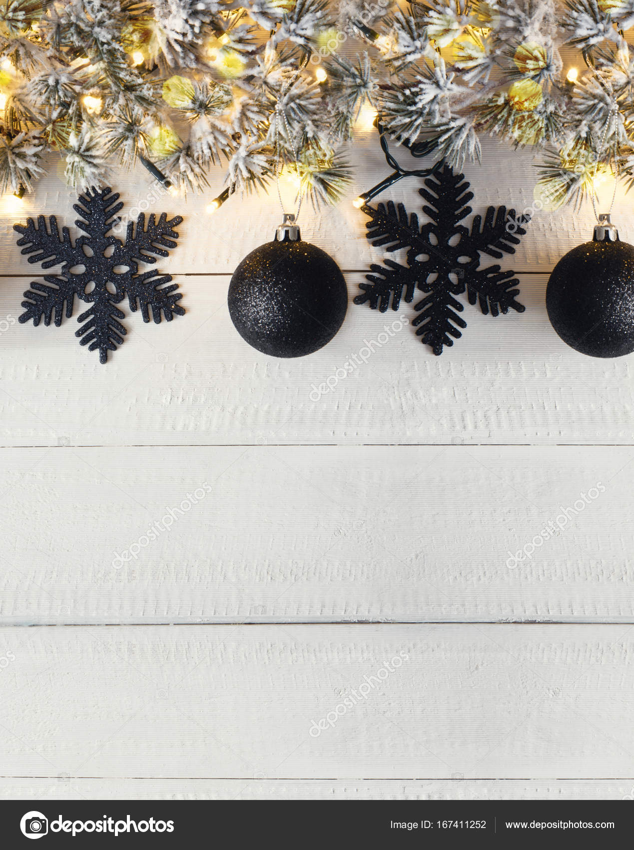 Bannière De Noël Noir Vertical Espace Copie Photographie