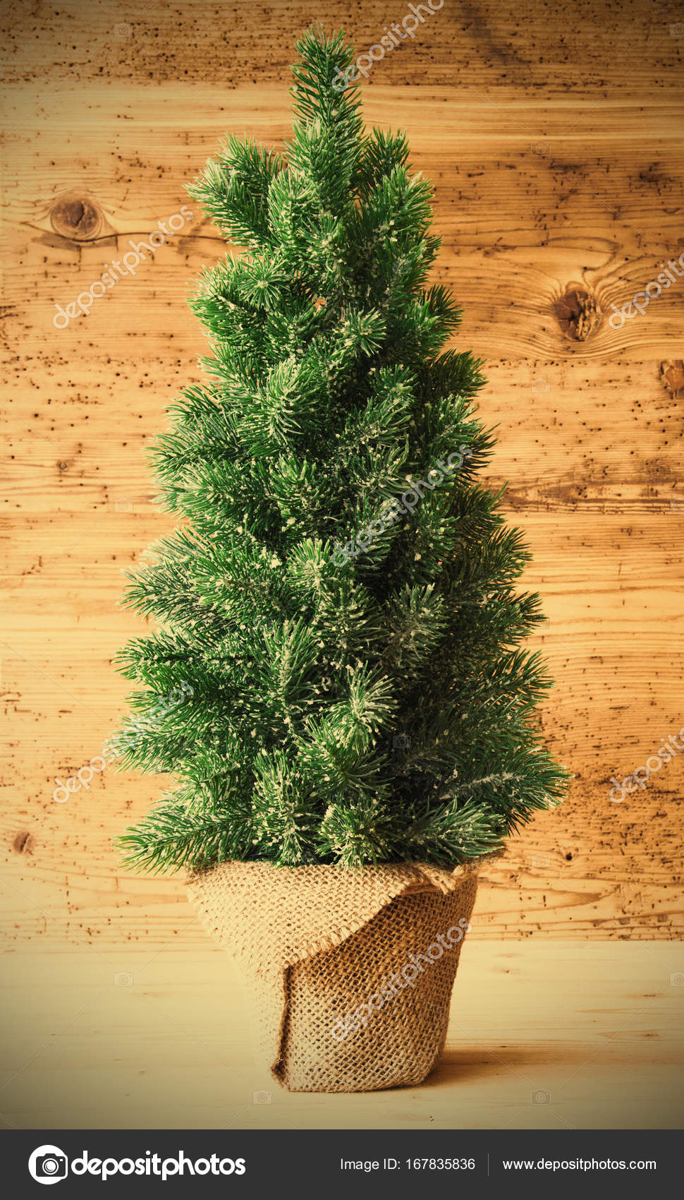 Close Up Of Green Christmas Tree With Brown Wooden Background Vertical Greeting Card Instagram Filter Photo By Nelosa