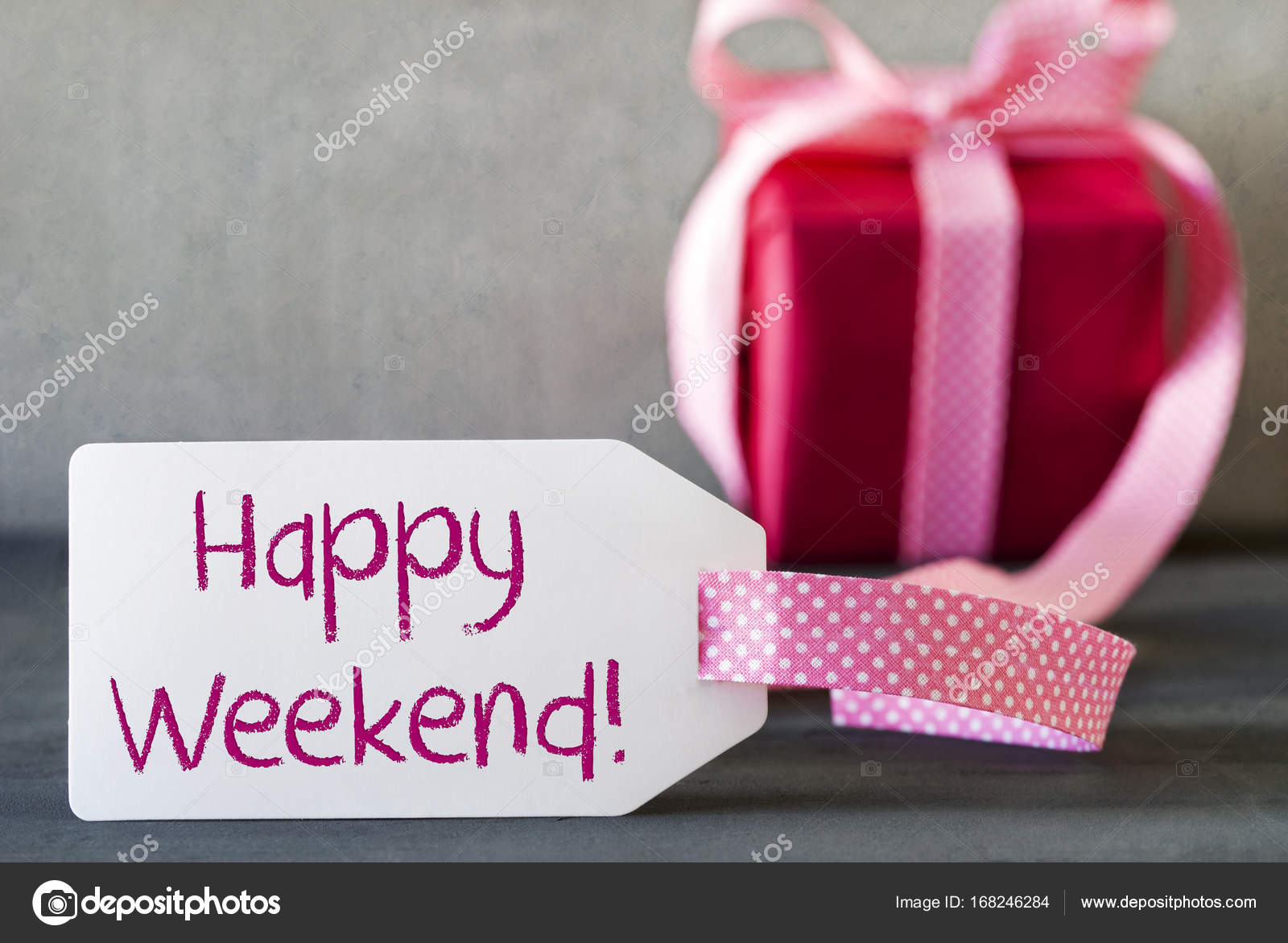Pink Gift, Label, Text Happy Weekend — Stock Photo © Nelosa #168246284