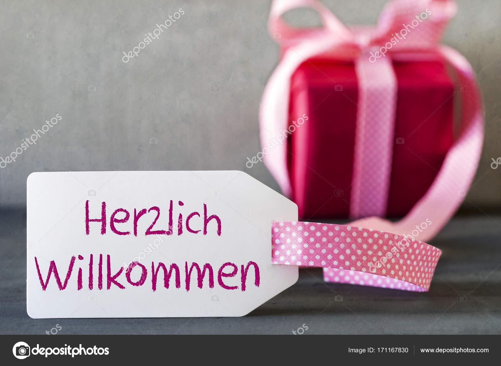 Pink Gift, Label, Herzlich Willkommen Means Welcome — Stock Photo ...