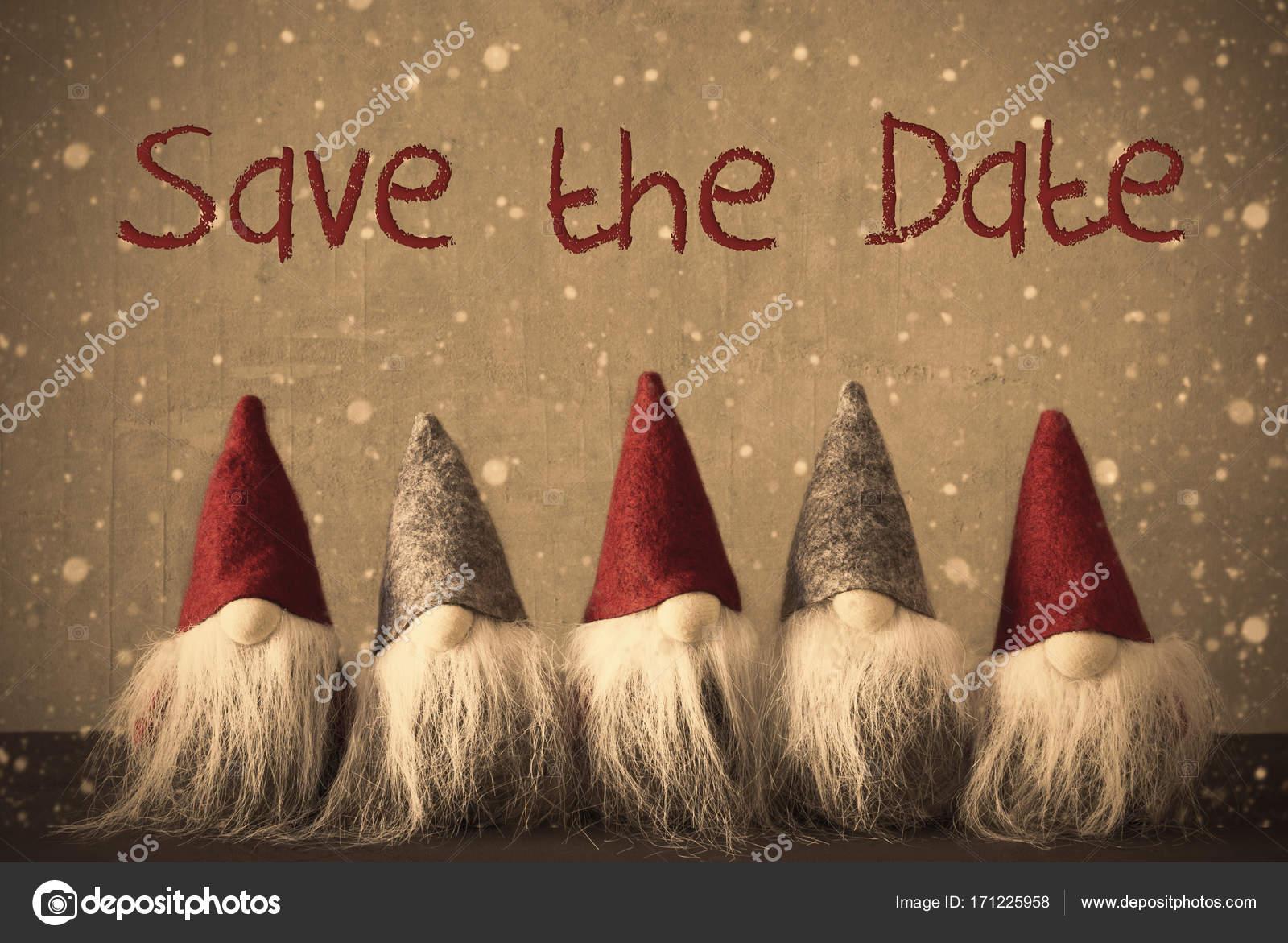 Testo Di Gnomi Fiocchi Di Neve Save The Date Foto Stock Nelosa