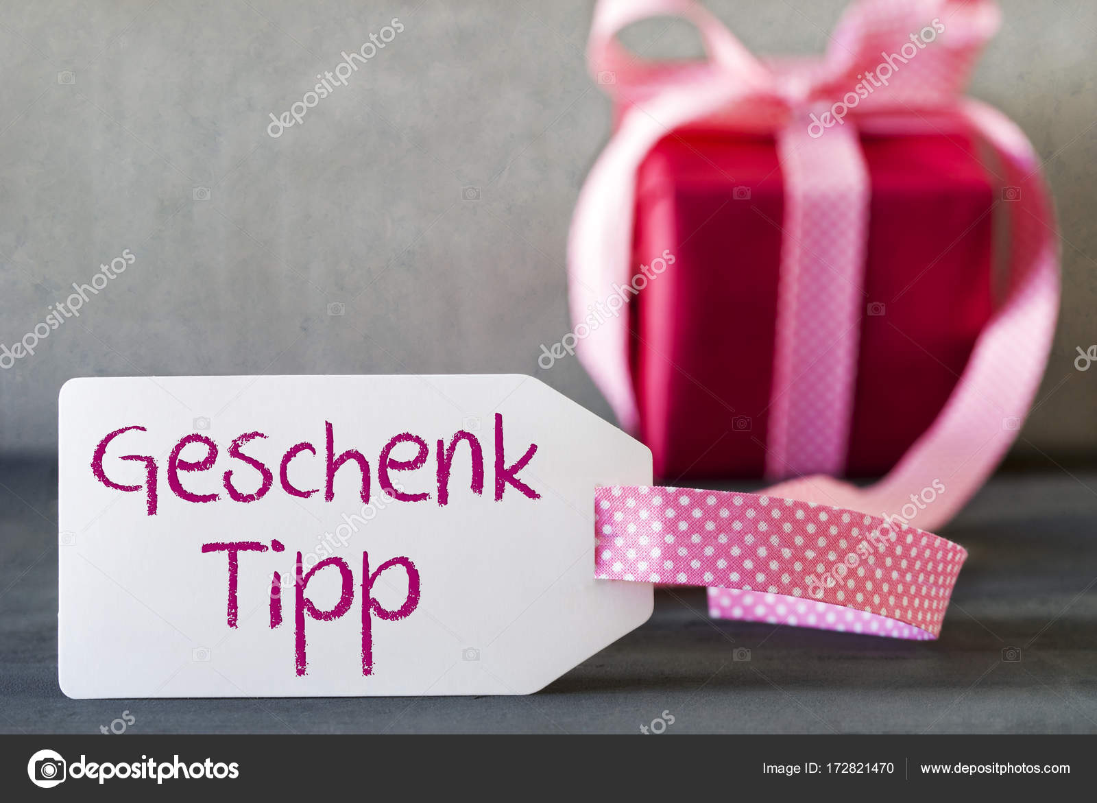 Pink Gift, Label, Geschenk Tipp Means Gift Tip — Stock Photo ...