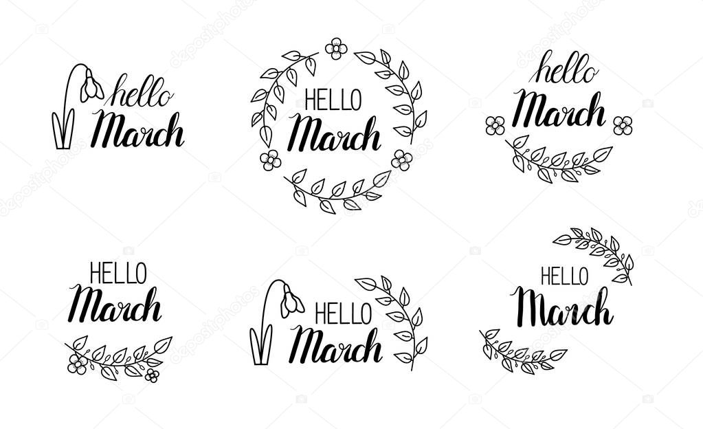Vector hello march lettering with green leaves and blossom