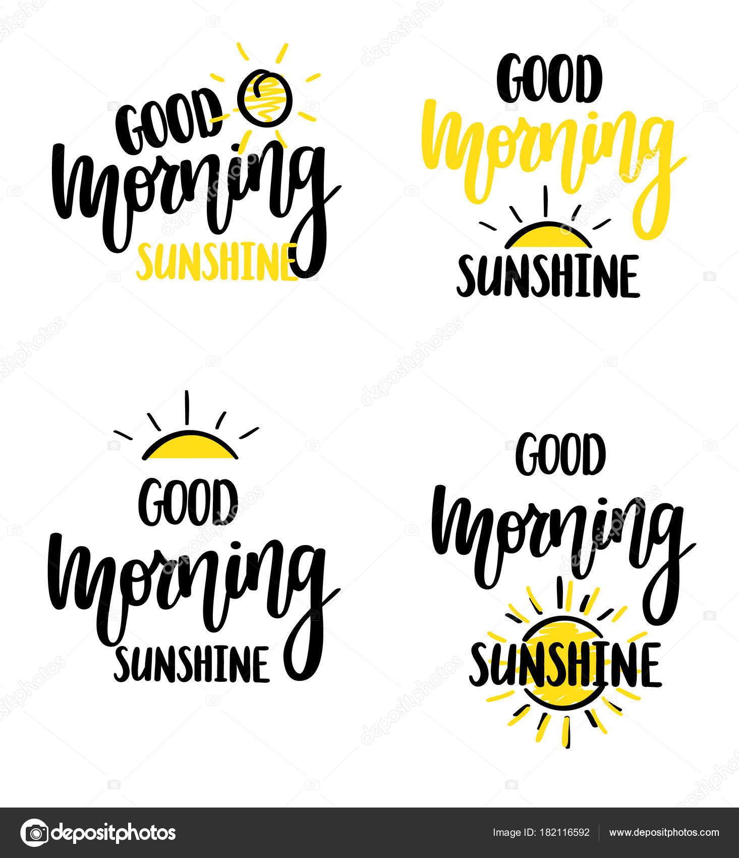 Caligrafia De Sol Vetor Bom Bom Dia Rotulação Design De