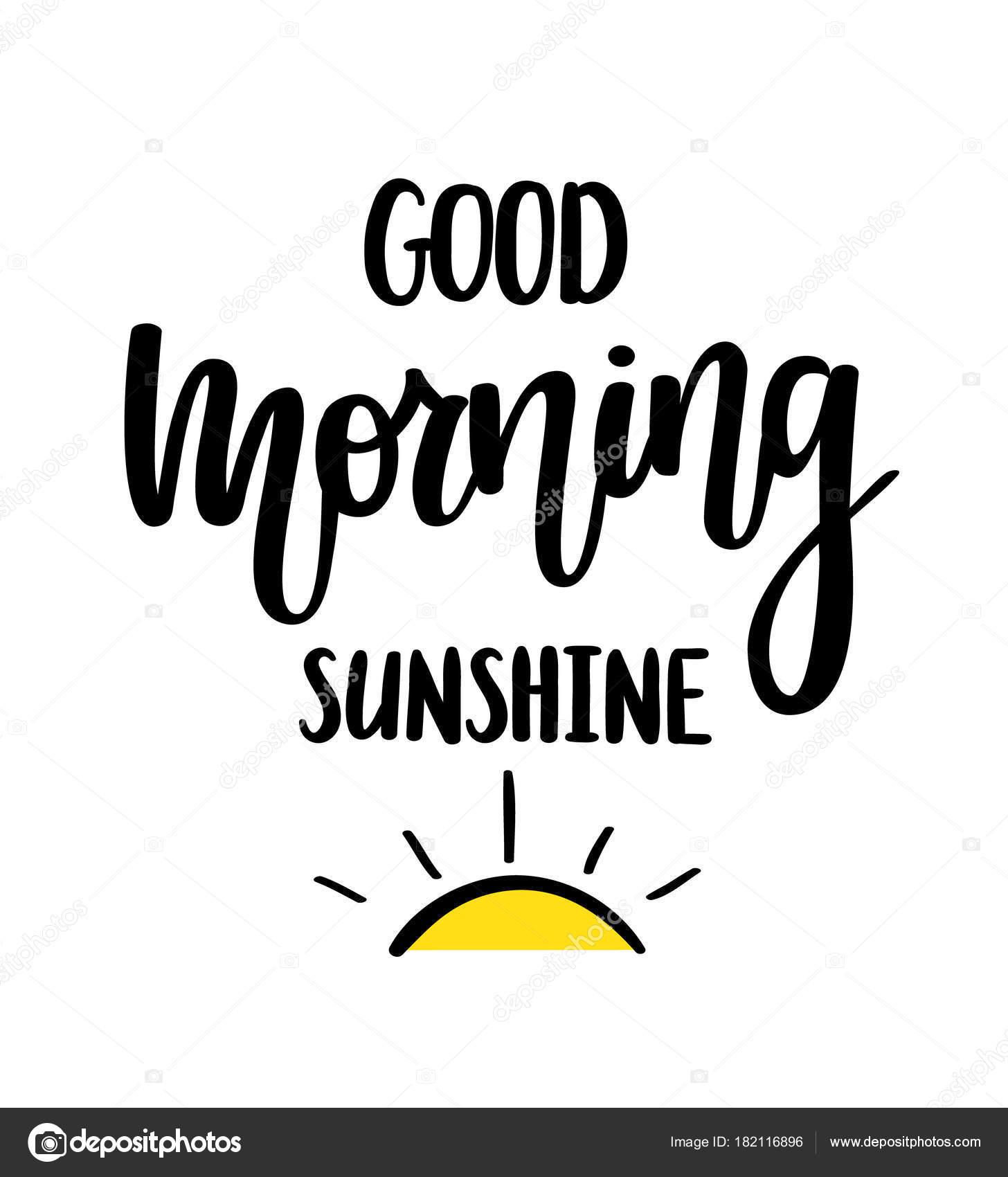 Caligrafia De Sol Vetor Bom Bom Dia Rotulação Design De Cartaz De