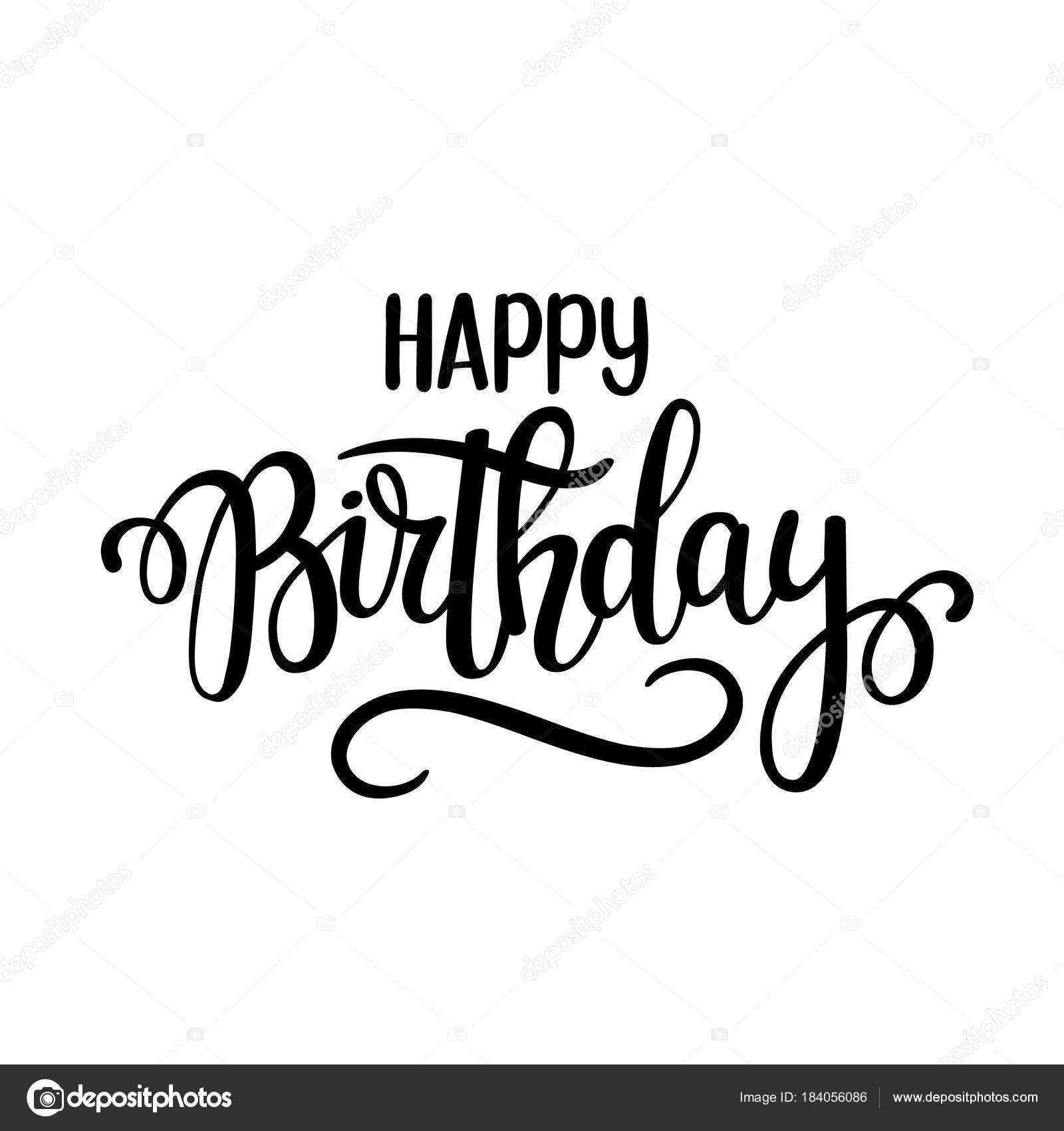 Disegno Vettoriale Scritta Di Buon Compleanno Manifesti Cartoline