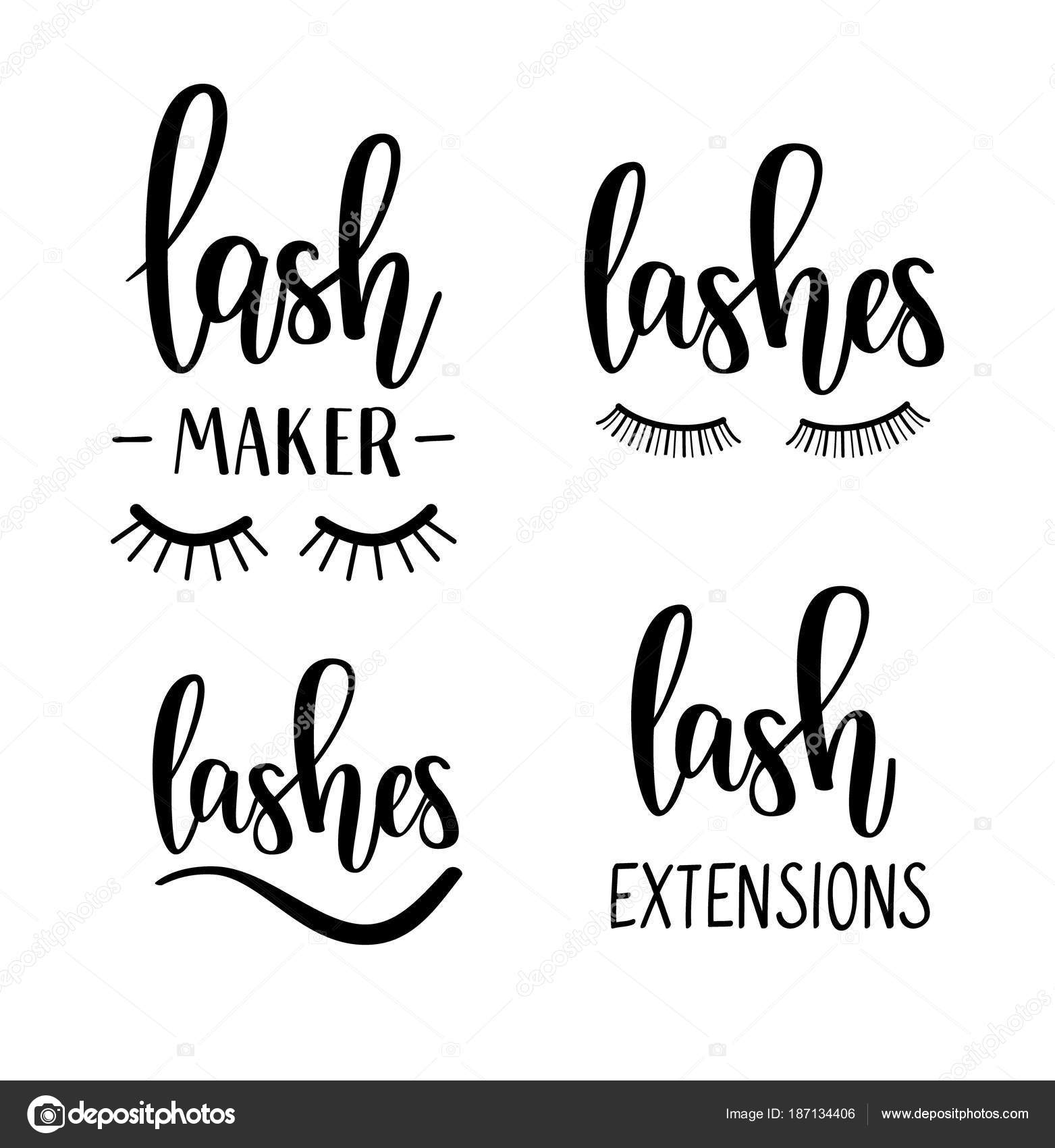 Vector Lashes Lettering Beauty Salon Lash Maker Extensions Calligraphy Designs By YasnaTenDP