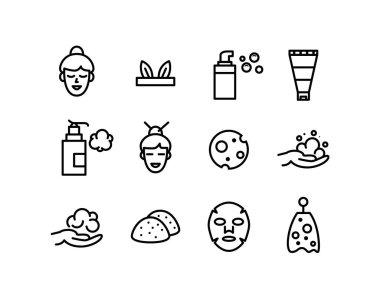 Vector Korean, Japanese foam cleanser beauty icons set. Sheet face mask, net, bottles, konjac sponge and happy girl icon