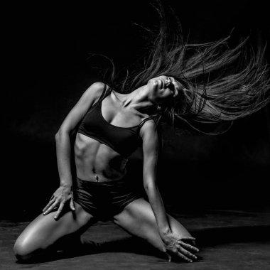 beautiful woman go-go dancer in studio