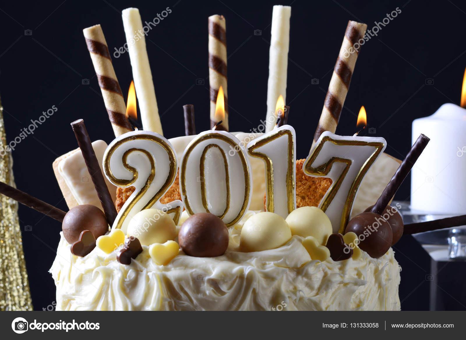 happy new year white chocolate cake stock photo 131333058