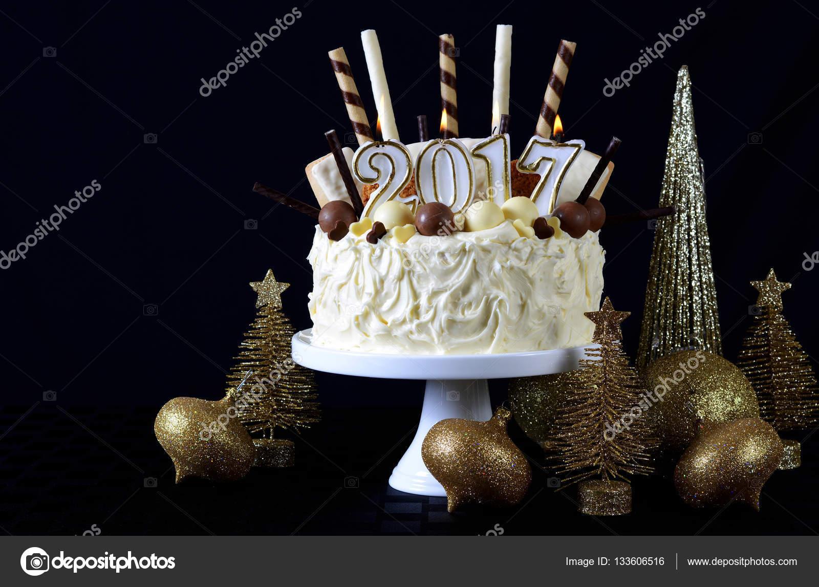 happy new year white chocolate cake stock photo