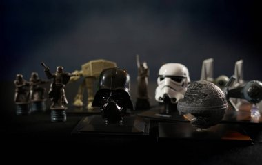 Star Wars battlefield scene with iconic characters