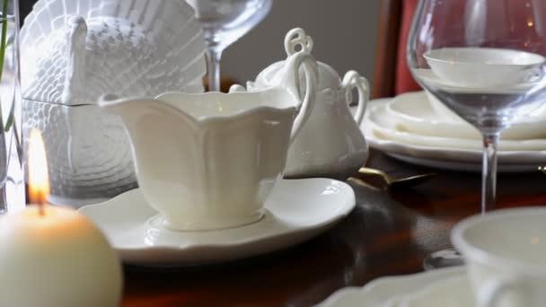 Elegant dinner party table setting. — Stock Video © amarosy #171389524