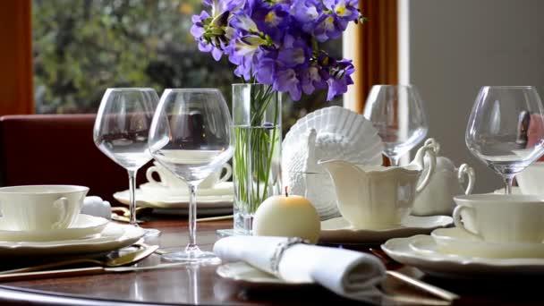 Elegant dinner party table setting. u2014 Stock Video & Elegant dinner party table setting. u2014 Stock Video © amarosy #171391016