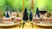 Fotografie Festive Christmas lunch table in modern gold, copper, and white theme