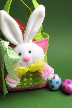 Happy Easter, home made Easter egg hunt colorful polka dot carry basket bag
