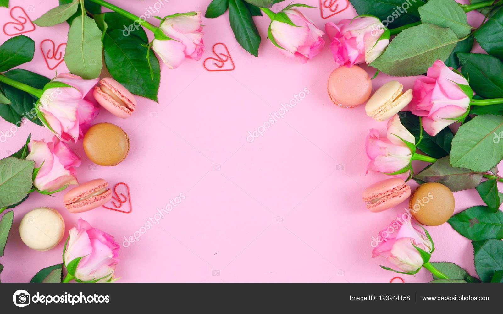 Fondo De Día De Las Madres De Rosas Y Galletas De Macaron