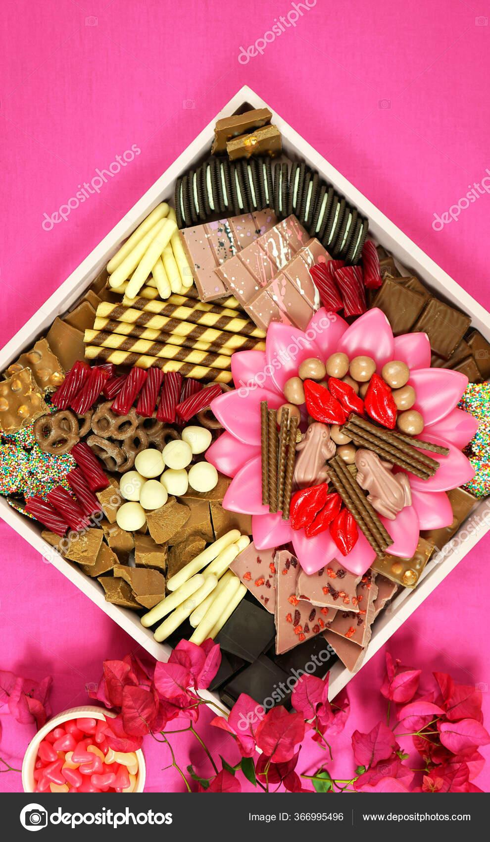 Chocolate Dessert Charcuterie Grazing Platter Tray On Modern Pink Background Stock Photo C Amarosy 366995496
