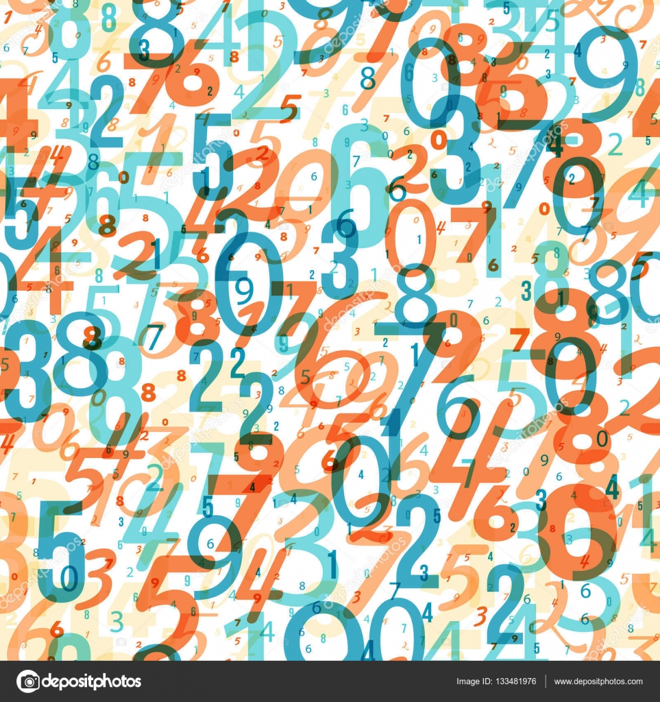 mathematics background - different numbers pattern — stock vector